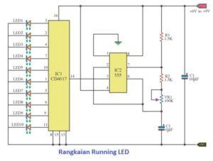 Rangkaian Lampu LED Berjalan