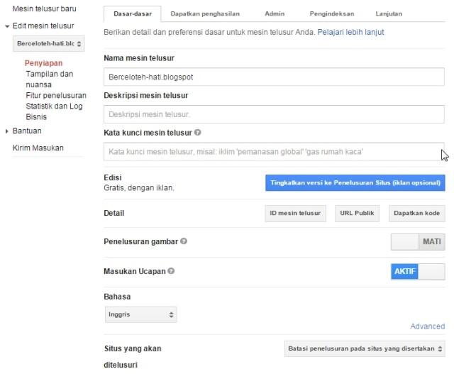 setelan penelusuran khusus google